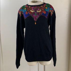 Vintage sequined angora sweater 1980s 1990s